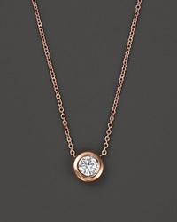 Roberto Coin 18K Rose Gold And Diamond Bezel Necklace 16