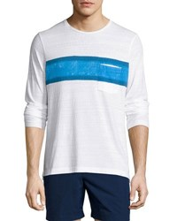 Orlebar Brown Robby Waterton Striped Long Sleeve T Shirt White Maritime Navy White Pattern