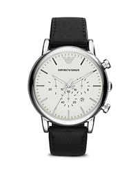 Emporio Armani 3 Hand Chronograph Leather Strap Watch 46Mm Black Stainless Steel