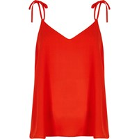 River Island Womens Red Bow Shoulder Cami Top