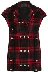 Alexander Wang Plaid Cotton Blend Vest Merlot