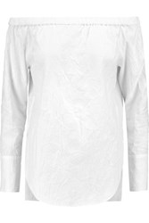 Rag And Bone Greta Crinkled Cotton Blend Top White