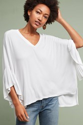 Anthropologie Capa Fluttered Tunic White
