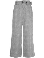 Veronica Beard Belted Checked Trousers Blue