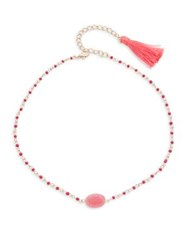Design Lab Lord And Taylor Goldtone Raspberry Beaded Necklace Pink