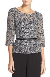 Women's Alex Evenings Belted Lace Blouse