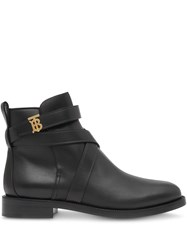 Burberry Monogram Motif Leather Ankle Boots Black