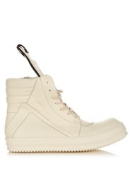 Rick Owens Geobasket Leather High Top Trainers White