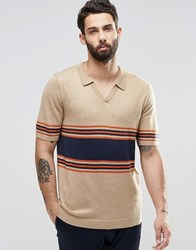 Asos Knitted Stripe Polo In Merino Wool Mix Sable Beige