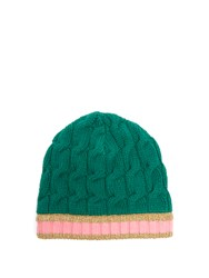 Gucci Striped Edge Cable Knit Beanie Hat Green