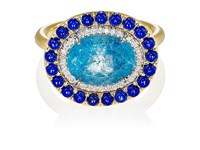 Irene Neuwirth Women's Mixed Gemstone Oval Faced Ring Blue