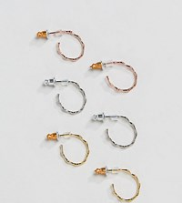 Accessorize 3 Pack Gold Plated Hoops