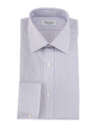 Charvet Micro Check Barrel Cuff Dress Shirt Red Blue Women's