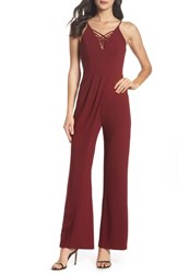Harlyn Draped Leg Jumpsuit Burgundy