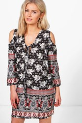 Boohoo Cold Shoulder Elephant Print Dress Multi