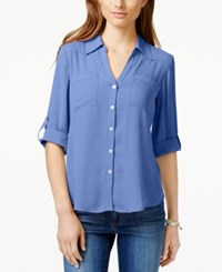 Amy Byer Bcx Juniors' Roll Cuff Button Front High Low Blouse