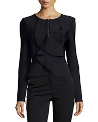 Herve Leger Ruffle Front Fitted Jacket Black Combo