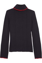 Msgm Ribbed Wool Turtleneck Sweater Navy