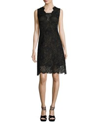 Elie Tahari Anne Sleeveless A Line Lace Dress Black