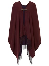 Betty Barclay Reversible Fringed Poncho Purple Blue