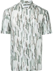 Cerruti 1881 Camouflage Print Shirt Men Cotton 40 Nude Neutrals