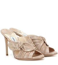 Jimmy Choo Keely 100 Suede Sandals Neutrals