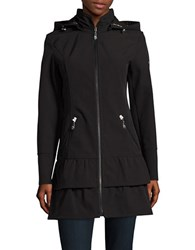 Betsey Johnson Ruffle Tiered Soft Shell Coat Black