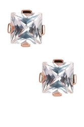 Savvy Cie 14K Rose Gold Plated Sterling Silver Princess Cut Crystal Stud Earrings Pink