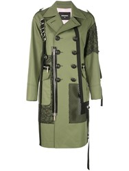 Dsquared2 Double Breasted Trench Coat Green