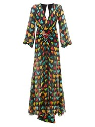 Versace Heart Print Embellished Plaque Silk Chiffon Gown Black Multi
