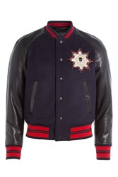 Alexander Mcqueen Wool Blend Bomber Jacket With Leather Sleeves Multicolor