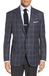 Peter Millar Men's Big And Tall 'Flynn' Classic Fit Plaid Wool Sport Coat Mid Blue