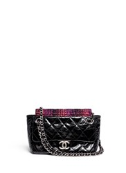 Wgaca Vintage Chanel Tweed Flap Quilted Leather Shoulder Bag Black