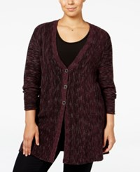 Styleandco. Style Co. Plus Size Space Dyed Flared Cardigan Only At Macy's Dried Plum Combo