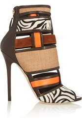 Brian Atwood Irya Leather Raffia And Calf Hair Ankle Boots Animal Print