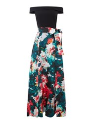 Tahari By Arthur S. Levine Asl Floral Ball Gown With Bow Sash Multi Coloured Multi Coloured