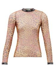 Aries Printed Mesh Long Sleeved Top Leopard