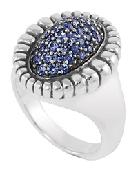 Lagos Large Sterling Silver Pav Blue Sapphire Ring Size 7
