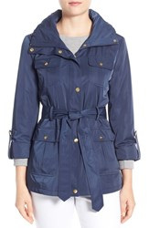 Women's Ellen Tracy Techno Short Trench Coat Ink