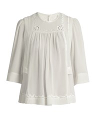 Isabel Marant Mara Embroidered Silk Blouse White