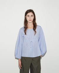 Ports 1961 Stripe Round Collar Blouse Blue