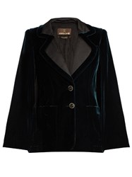 Roberto Cavalli Velvet Tailored Cape Dark Green