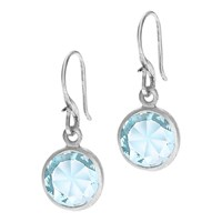 Dower And Hall Sterling Silver Topaz Drop Hook Earrings Silver Blue