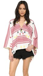 Christophe Sauvat Collection Embroidered Poncho Multi Bright