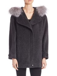 Sofia Cashmere Alpaca And Wool Fur Trim Coat Charcoal