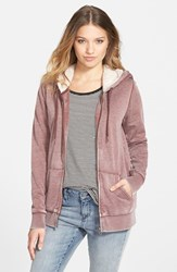 Junior Women's Volcom 'Lived In' Lined Zip Hoodie Cognac
