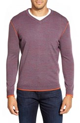 Men's Bugatchi V Neck Merino Wool Sweater Wine