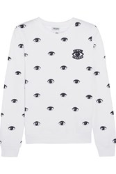 Kenzo Appliqued Printed Cotton Jersey Sweatshirt White