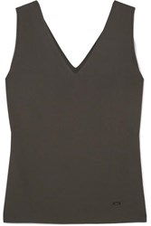 Akris Stretch Mulberry Silk Jersey Tank Gray