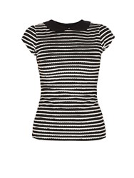 Morgan Black And White Frill Striped T Shirt